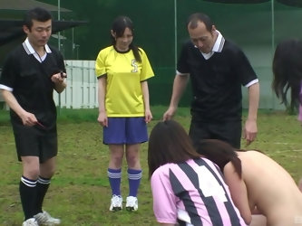 Japanese soccer teen gangbanged on the football field