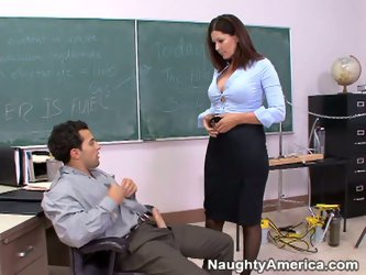 Stupid stud don't know a shit in math, but he have a huge cock. Nasty teacher notices that, that's why she gives him blowjob and rides stud&