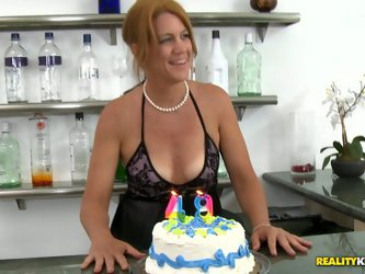 She is a dirty cougar who has only one wish on her birthday - fuck a young hard. She gets on her knees and gives him a deepthroat blowjob.