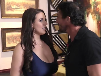 Seductive Latin macho works as bartender in a restaurant. Marvelous buxom lady is not interested in drinking but needs a hard cock for sure. Her juicy