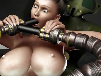 Sex brought in naked and two drones are locking her on. The robots will probe the female subject and she has no idea! Look at her, what a healthy, sex