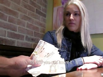 Every chick has her price, some need to be sweet talked and for the other sluts you just need to show the money. Here's one blonde milf named Bea