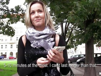 When you find such a blonde beauty on the streets that deserves to be paid you just go for it! Czech beauty Blanka takes my offer as I give her some s