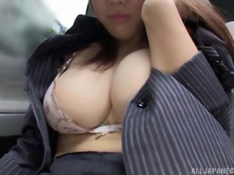 Busty Japanese Milf Pleases Her Wet Pussy With A Vibrator In