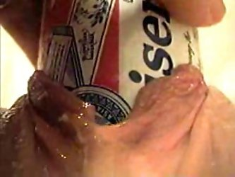 I watch and shoot my horny pale skin girlfriend inserting a whole beer can deep inside her loose snapper. That's what I can call an extreme pussy