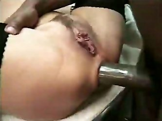 Bootylycious white whorish babe got her tight and fresh looking butt hole penetrated hard by her new friend in the kitchen.