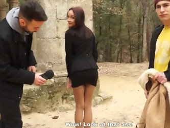 Brunette bitch gets her mouth and pussy rammed deep by two pickup artists who met her in the street and offered big money just to see her charms and r
