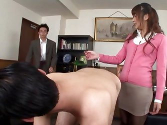 She's a hot and dirty chick so his colleague asks her for something special. He want to get ass slapped by her and as she does it one of their co