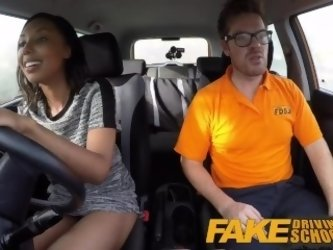 Fake Driving School three creampie clips with black girls and geeky blonde