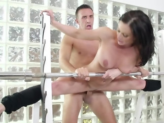 Pornstar with huge breasts gets off because of having twosome with a noble stallion in the gym. Female of easy virtue adores nothing better than being