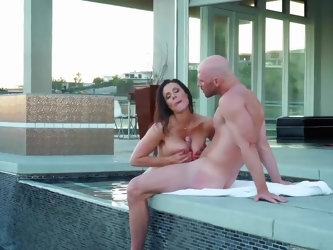 Masseuse with great tits during outdoor session strokes and rides client's phallus by poolside. Soon she invites him to join her inside and toget