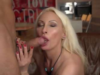 Next door blonde used to be a pornstar in younger days, horny neighbor finds a clip and goes over to her house to see if that's true. Mature babe