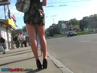 Admiring upskirt of high heeled girl