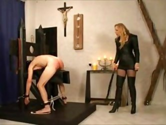 Mistress Gives Her Slave A Hard Spanking!