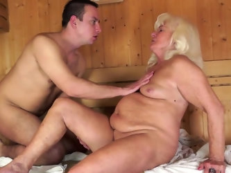 Who knew that the sauna can get even hotter. After this experienced lady treats her young lover to an amazing blowjob, he eagerly returns the favor an