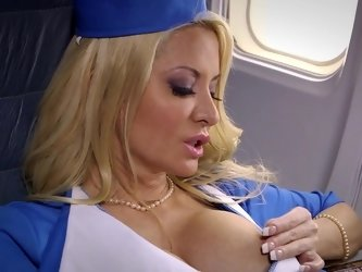 Unforgettable sex with blonde-haired stewardess during the flight
