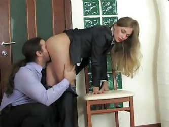Anal Quickie For Lovely Blonde In Business Suit