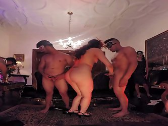 VR 360 Degrees orgy room threesome vs horny lesbians