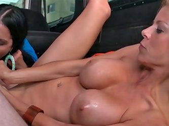 Diamond Kitty and Alexis Fawx get boned hard in a van