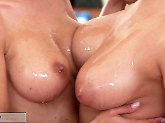 Fitness Rooms Big boobs lesbians have rampant gym threesome