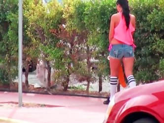 Slim teen is fucking after rolling around on her skates