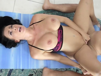 a yoga class  turns to rough fuck with horny brunette Reagan Foxx