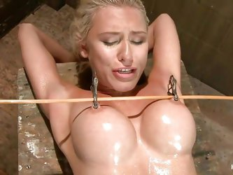 She's slim with big round boobs and her body is all oiled up. Meet Katie, a gorgeous blonde babe that is punished for being a total slut. Metal c