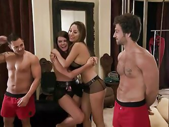 In season 4 of Foursome, this quartet of girls and guys meets with a fetish expert to try out some bondage, lap dancing, and electric toys. Most are w