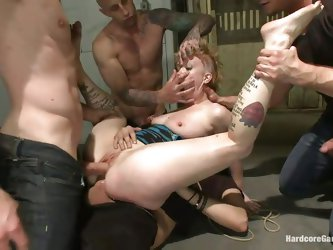 Stupid cunt Sasha is gang banged by a group of five men and enjoys being treated like a total slut. She gets fucked in her tight ass, pussy and dirty