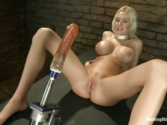 Everything Riley likes is big! Her boobs are big and round so she adores them, rubbing them with pleasure, the dildo in front of her is big too so she
