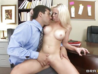 Big hot boobs blonde Dylan Riley gets her shaved cunt fingered hard and then she takes the guys dick in her mouth, giving him a hot blowjob while rubb