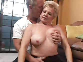 Granny Champagne needs to fuck, so her old fart Buck is there for her. He licks her shaved pussy and makes her moan, like a old whore, before she suck