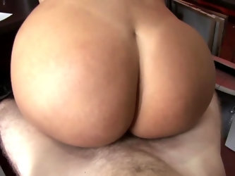 Buddy sits in front of sultry bombshell and appreciates the way how she polishes his meatstick. After enough cock sucking, she places impressive booty