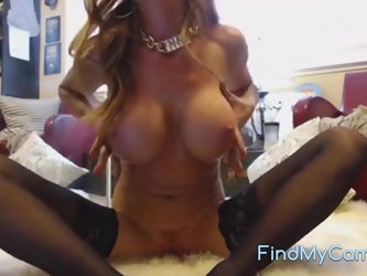 Hot blonde babe with enormous juggs teases and masturbates on livecam