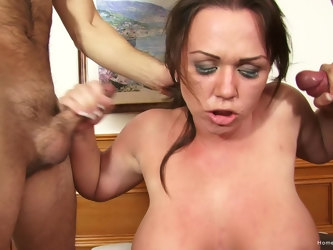 Busty woman tries her luck with a bunch of horny men