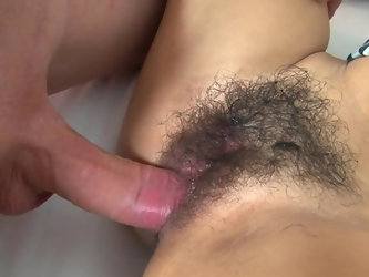Horny Thai hottie enticed with money getting wet because of bucks white young man pays for the rental of her hairy vagina because Asian with tasty but