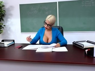 POV action with buxom professor that uses her tits to please student