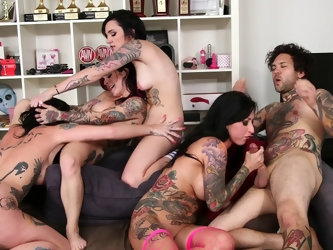 Orgy with four alternative tattooed babes including Joanna Angel