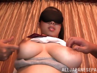 Bosomy Asian Shiori Tsukada gets her pussy fucked in standing pose