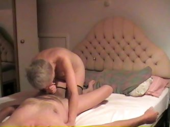 Grandma milks her husband cock