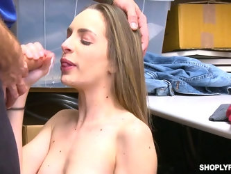 After getting all naked guilty Kimmy Granger provides cop with a blowjob