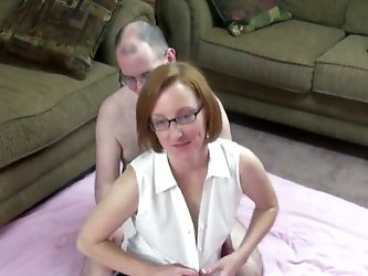 Lustful mature lady is trying to satisfy a guy indoors. She sucks his schlong devotedly, then they fuck in the missionary and the cowgirl poses.