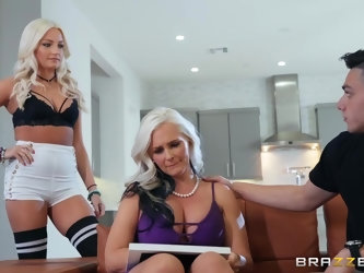 Randy blonde milf with big tits got fucked from the back while in the kitchen