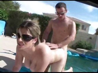 Busty wife fucked by the pool