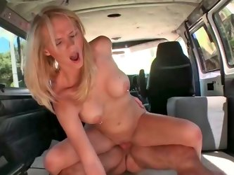 Alli May getting nicely smashed inside some big van