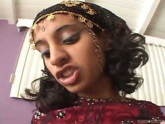 Lovely Indian teen strumpet can barely fit that pink shaft in her mouth