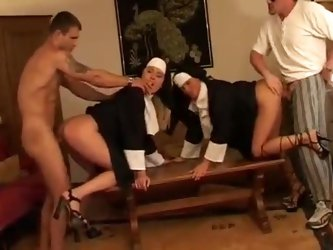 Naughy nuns fucked in a hardcore foursome