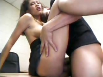 Hot brunette fuck in office