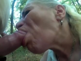 FCH - Pumped cock use poor hooker mouth and throat in forest