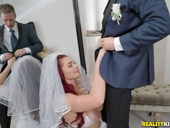 Redhead bride to be Skyla Novea forced to fuck a stranger